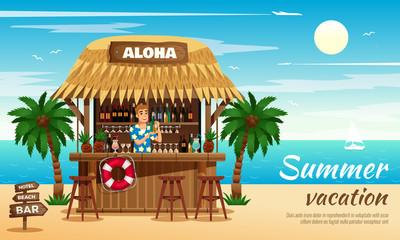 Summer vacation horizontal illustration