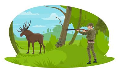 Vector hunter and hunt for elk flat design