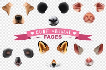 Cute Animal Faces Transparent Icon Set