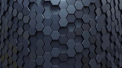 Geometric Hexagon abstract dark background. 3d rendering