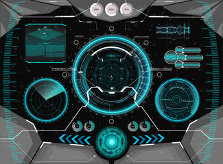Futuristic concept GUI for helmet. Head-up display template in HUD style. Futuristic VR Head-up Display Design. View from the helmet with HUD elements ( cockpit spaceship, Radar, dashboard, crosshair)