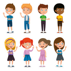 group of happy kids characters vector illustration design