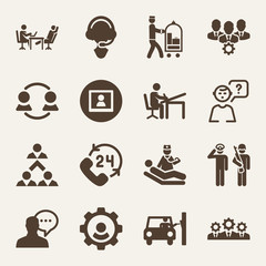 People filled vector icon set on wood color background