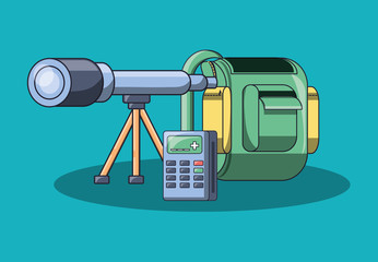 school backpack with telescope and calculator over blue backgorund, colorful design. vector illustration