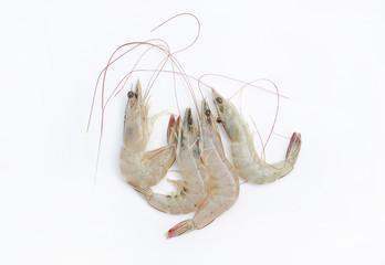 Raw shrimps isolate on white background.
