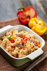 Fried rice with vegetables and pork, Thai cuisine
