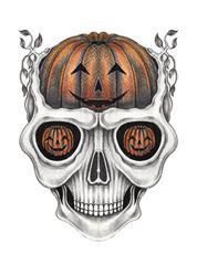 Art Surreal pumpkins mix Skull Tattoo. Hand drawing on paper.