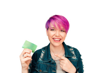Modern attractive woman girl showing paper card
