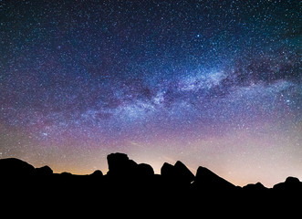 Milky Way over Granite Rock Formation Silhouette, Starry Night Sky Landscape