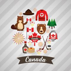 happy canada day set national symbols vector illustration
