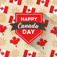 happy canada day badge ribbon flags and maple leaves background vector illustration
