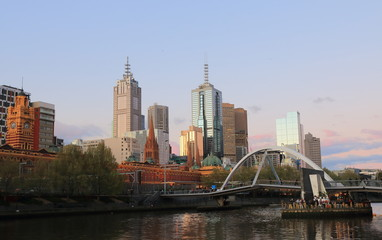 Melbourne waterfront cityscape sunset Australia