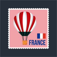 happy bastille day france flag french postcard hot air balloon vector illustration