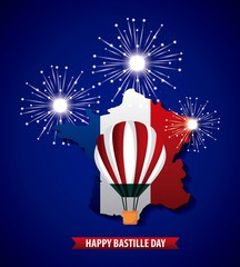 happy bastille day france blue background fireworks hot air balloon french map vector illustration
