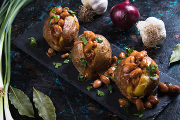 Refried beand with jacket potato