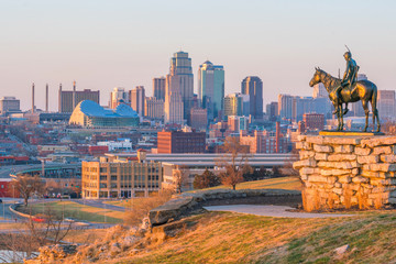 Foto op Canvas Verenigde Staten The Scout overlooking downtown Kansas City