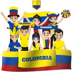 Set of Soccer / Football Supporter / Fans of Colombia National Team