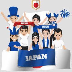 Set of Soccer / Football Supporter / Fans of Japan National Team