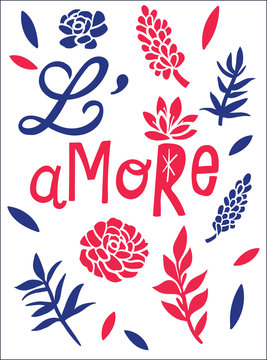Graphic tee typography slogan l'amore in french for t-shirt printing and embroidery