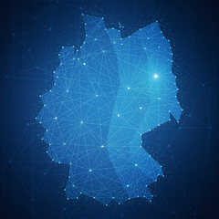 Polygon Germany map with blockchain technology peer to peer network on futuristic hud background. Network, p2p business, commerce, bitcoin trading and cryptocurrency blockchain business banner concept