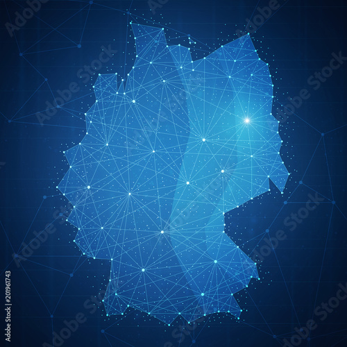 Polygon Germany map with blockchain technology peer to peer