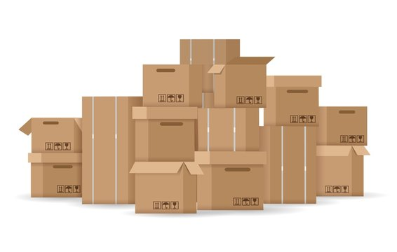 Boxes stack. Brown stacked cardboard boxes vector illustration, carton box pile isolated on white background