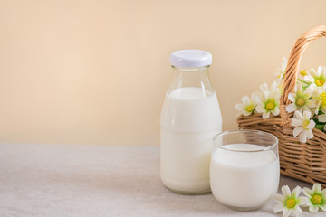 Glass of milk and milk bottle on table