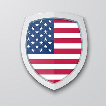 United State of America flag on shield. Vector illustration