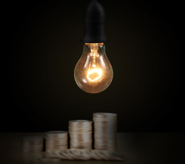 Glowing  light bulb, Realisti turn on tungsten