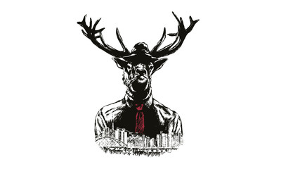 Fashion Illustration of Deer Portrait in Retro Style, Hipster Look, Vector, Seoul, The Republic of Korea,