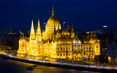 Parlament in Budapest is hungarian landmark in night light