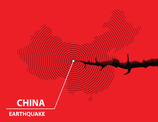 China Earthquake concept on cracked map