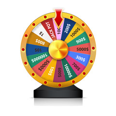 concept of lottery win. Roulette fortune wheel isolated vector illustration for gambling background. Wheel of Fortune for the game. jackpot