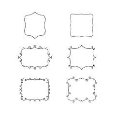 Set of hand drawn decorative frames.