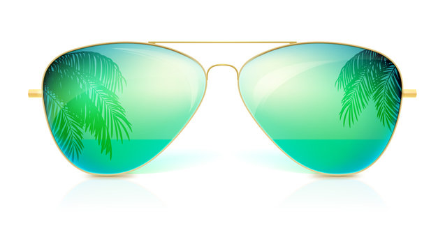 Realistic sunglasses, classic shape in fine gold frame isolated on white background. Icon of sunglasses with green glass, reflection of the palm trees, the sea and the horizon. Stylish accessories