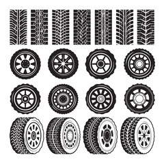 Monochrome pictures with wheels and tyres protector