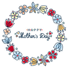 Happy mother's day card. Round floral wreath