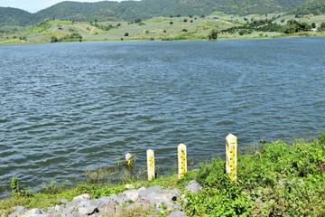 Water level gauge or Staff Gauge in dam , Thailand
