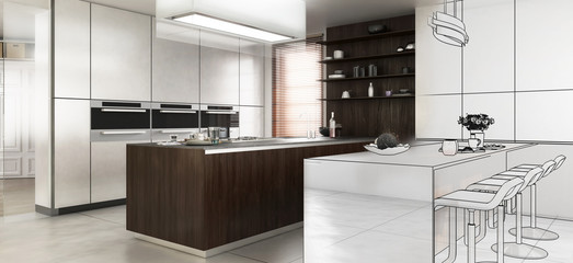 Contemporary Designed Kitchen in Design (panoramic)