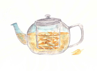 Drawing with watercolors: glass teapot.