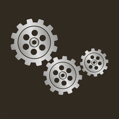 Gears on a black background. Vector icon