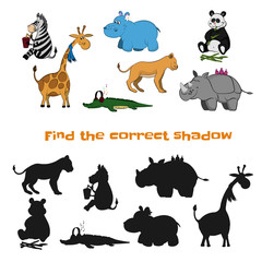 Find the correct shadow. Kids game. Zoo animals in cartoon style. Puzzle with black silhouette