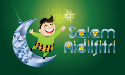 "A Muslim boy playing fireworks on a swinging moon, with Malay pattern background. The words ""Salam Aidilfitri"" means happy Hari Raya."