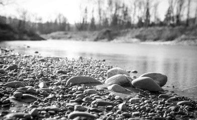 Aarau, Switzerland - March 2018: Stone bank at the river Aare