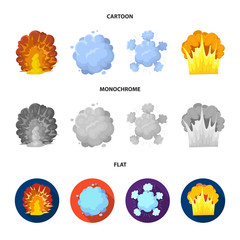 Flame, sparks, hydrogen fragments, atomic or gas explosion. Explosions set collection icons in cartoon,flat,monochrome style vector symbol stock illustration web.