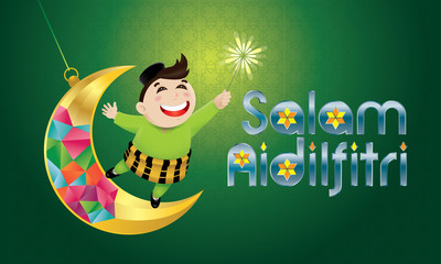 """A Muslim boy playing fireworks on a swinging moon, with Malay pattern background. The words """"Salam Aidilfitri"""" means happy Hari Raya."""