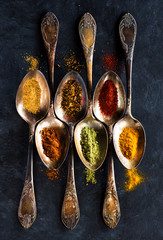 Spices background. Powder seasoning, spices and spicy in spoons