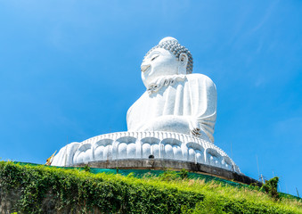 White Marble Big Buddha with blue sky