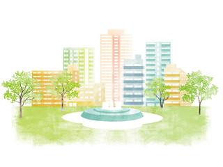 街並み 新緑イラスト