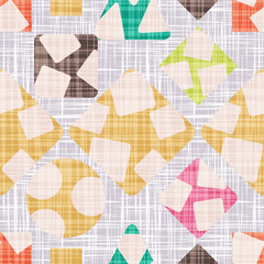 Tracery for cloth with geometric shapes. Texture vector illustration. Rhombus, square, triangle and circle. Colorful Wallpaper.